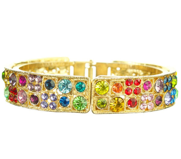 Gold Rainbow Multi Chakra Dotted Bangle