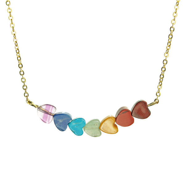 PRIDE & Chakra Swoop Hearts Gold Necklace