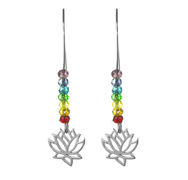 PRIDE & Chakra Crystal Silver Lotus Kidney Wire Earrings