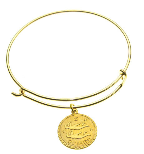 Vintage Gemini Coin Zodiac Wire Bangle