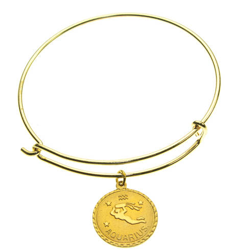 Vintage Aquarius Coin Zodiac Wire Bangle