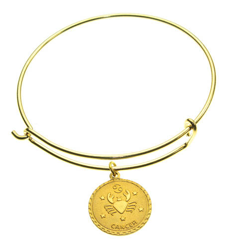 Vintage Cancer Coin Zodiac Wire Bangle