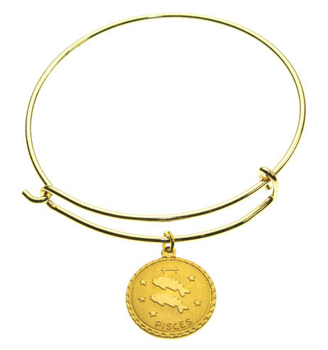 Vintage Pisces Coin Zodiac Wire Bangle