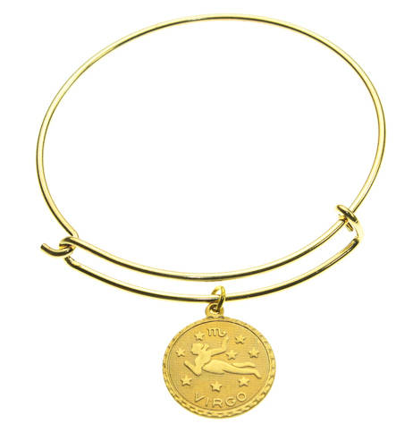 Vintage Virgo Coin Zodiac Wire Bangle