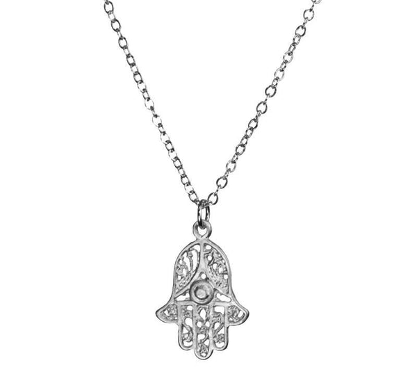 Small Filigree Hamsa Silver Necklace