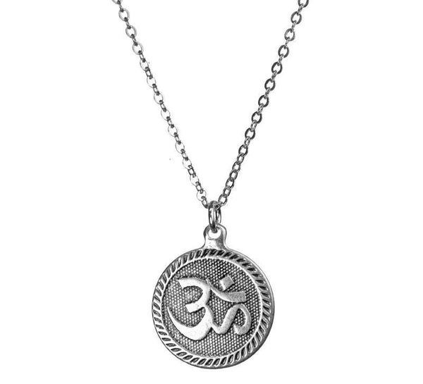 Namaste Coin Silver Necklace