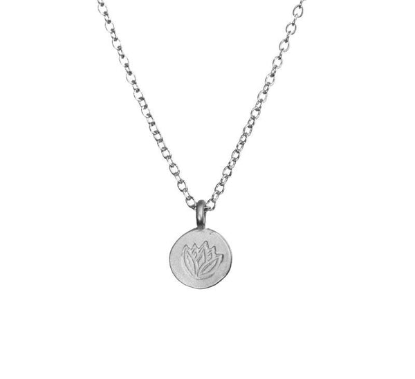 Dainty Stamped Lotus Coin Silver Necklace