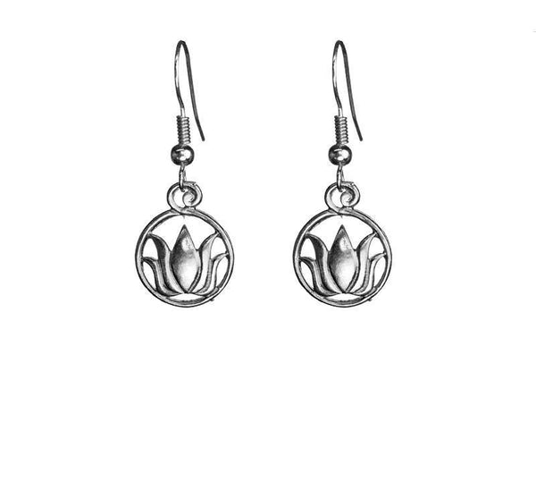 Small Lotus Round Outline Silver Earrings