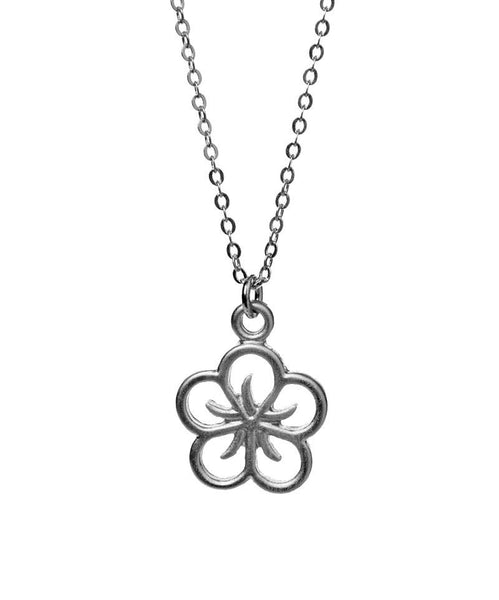 Rounded Lotus Outline Silver Necklace