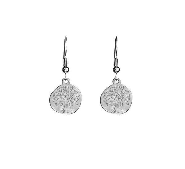 Small Stamped Tree Organic Coin Silver Earrings