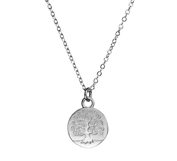 Small Stamped Swirly Tree of Life Organic Coin Silver Necklace