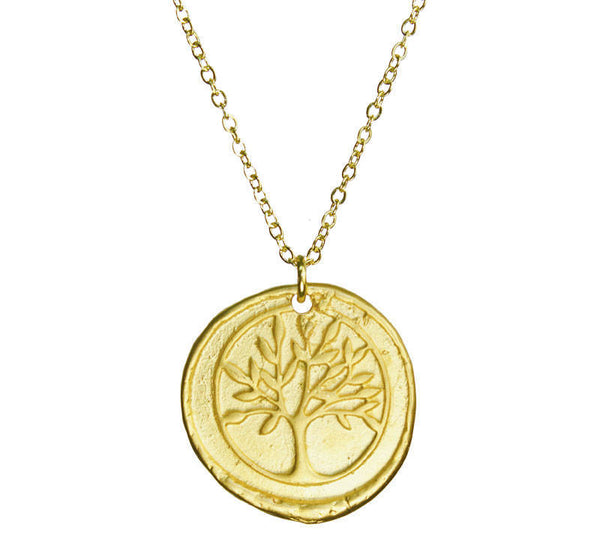 Tree of Life Organic Coin Gold Necklace