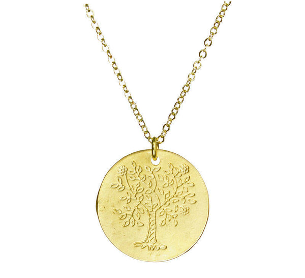 Tree of Life Flat Coin Gold Necklace