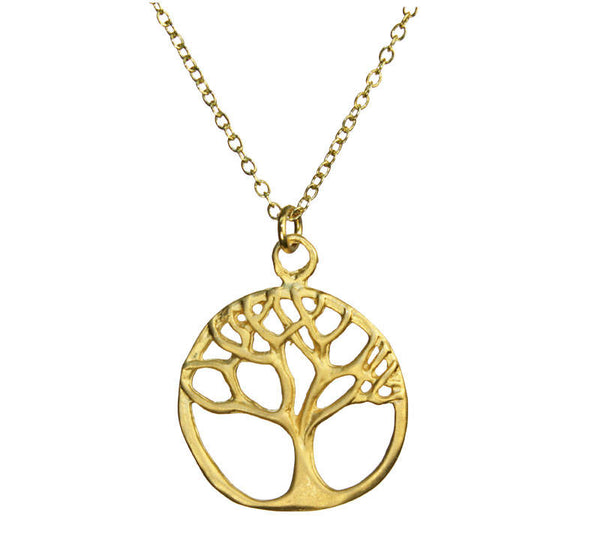 Tree of Life Branch Outline Gold Necklace