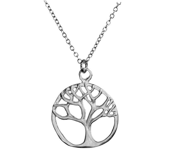 Tree of Life Branch Outline Silver Necklace