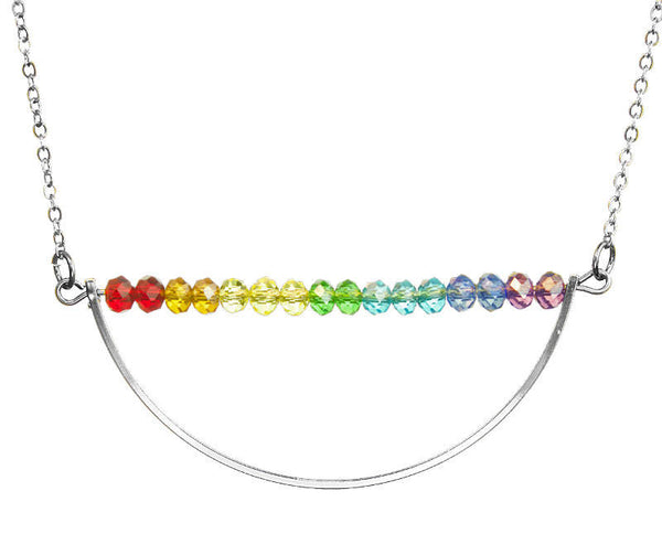 PRIDE & Chakra Crystal Silver Crescent Bar Necklace