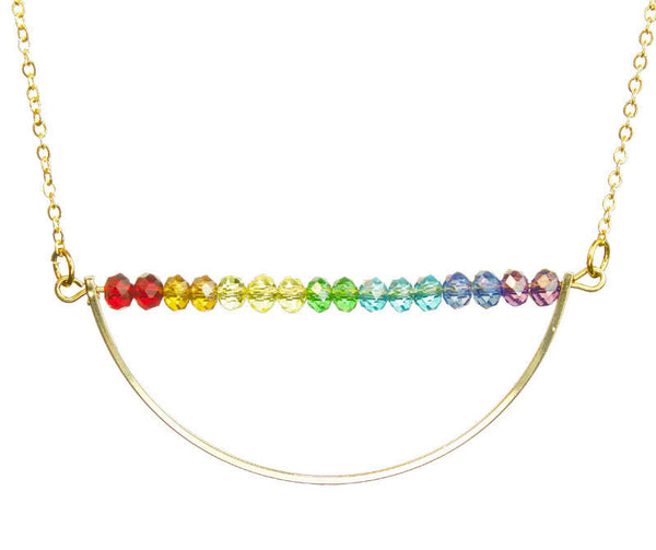 PRIDE & Chakra Crystal Gold Crescent Bar Necklace