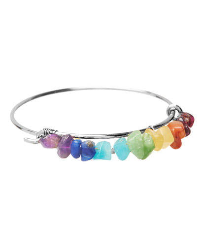 Chakra Silver Wire Bangle
