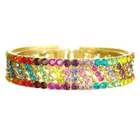 Silver Rainbow Multi Chakra Striped Bangle