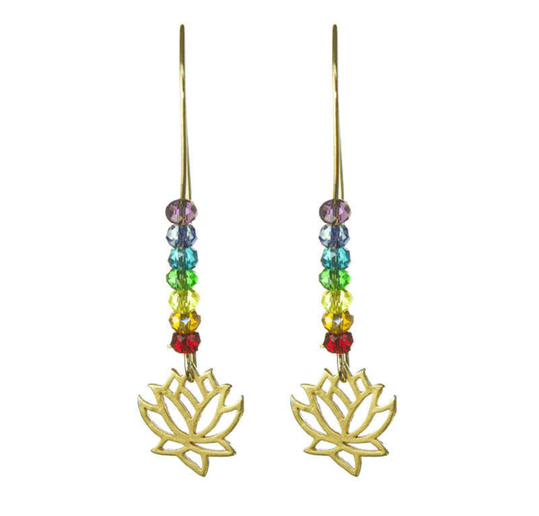 Pride & Chakra Crystal Gold Lotus Kidney Wire Earrings