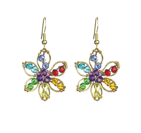 PRIDE & Chakra Crystal Gold Flower Outline Earrings