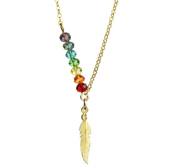 PRIDE Chakra Crystal Bar & Gold Feather Necklace