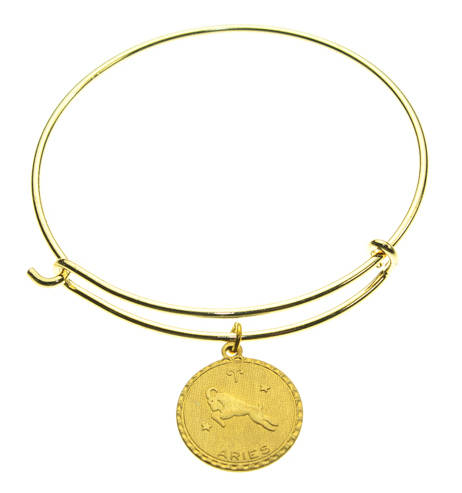 Vintage Aries Coin Zodiac Wire Bangle