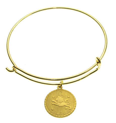 Vintage Leo Coin Zodiac Wire Bangle