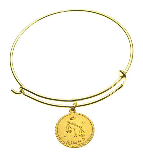 Vintage Libra Coin Zodiac Wire Bangle