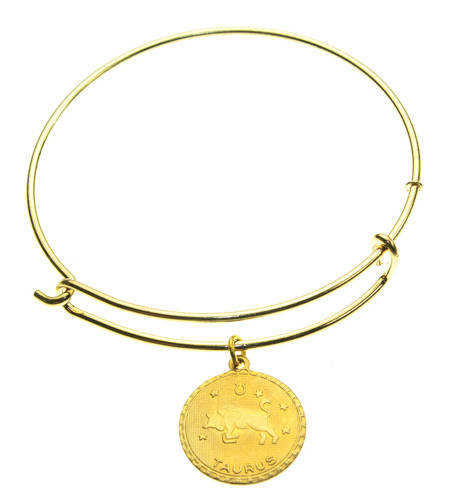 Vintage Taurus Coin Zodiac Wire Bangle