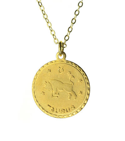 Vintage Taurus Coin Zodiac Necklace