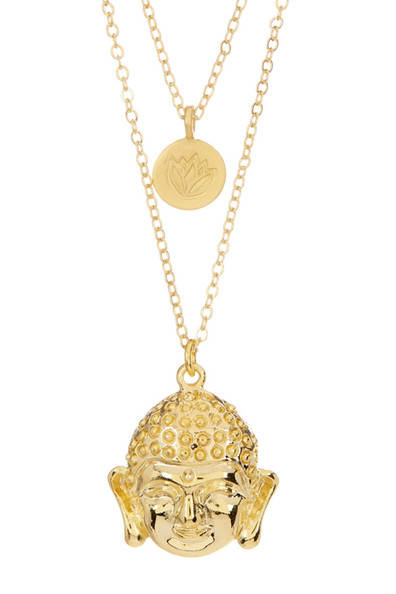 Lotus & Buddha Layer Gold Necklace