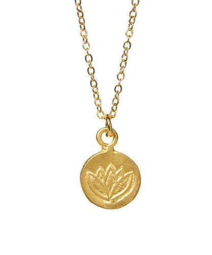 Mini Stamped Lotus Coin Gold Necklace