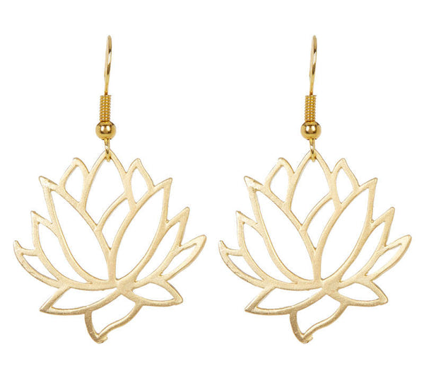 Lotus Cutout Gold Earrings