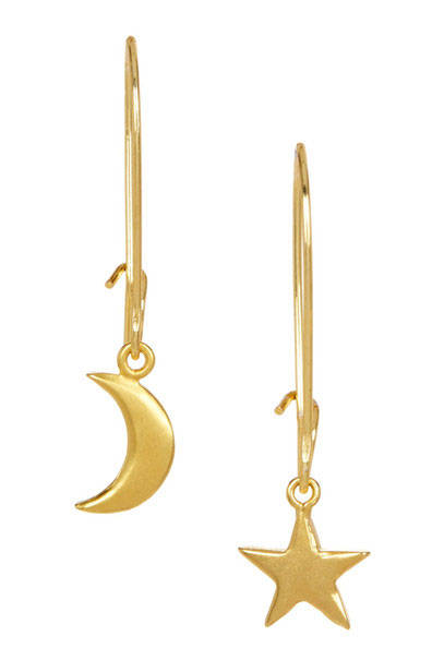 Moon & Star Gold Kidney Earrings