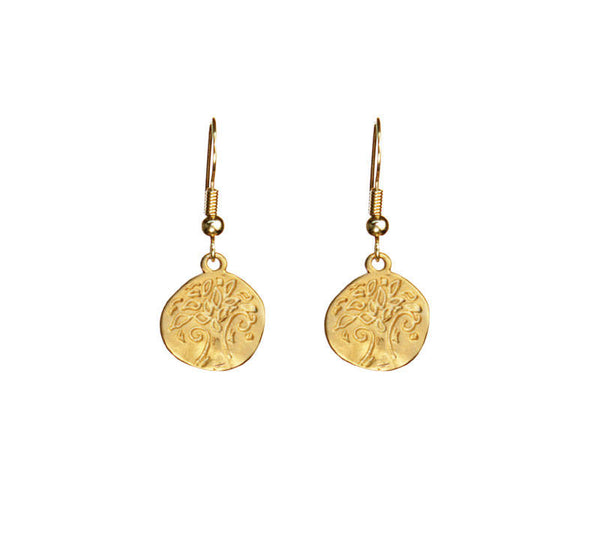 Small Stamped Tree Organic Coin Gold Earrings