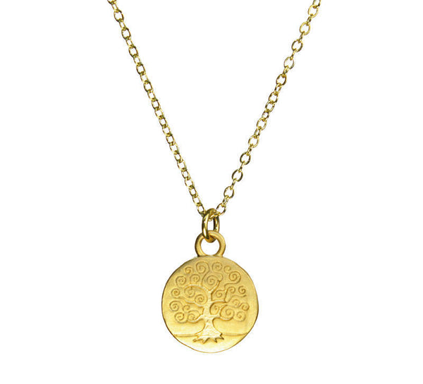 Small Stamped Swirly Tree of Life Organic Coin Gold Necklace