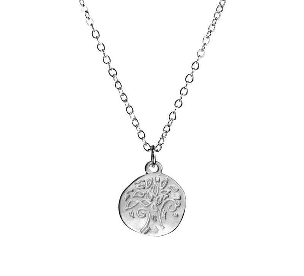 Small Stamped Tree of Life Organic Coin Silver Necklace