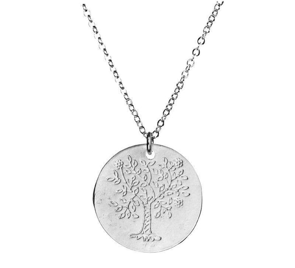 Tree of Life Flat Coin Silver Necklace