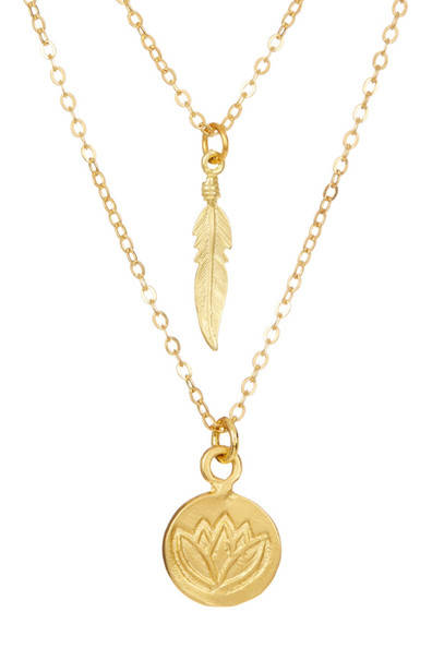 Feather & Lotus Coin Layer Gold Necklace
