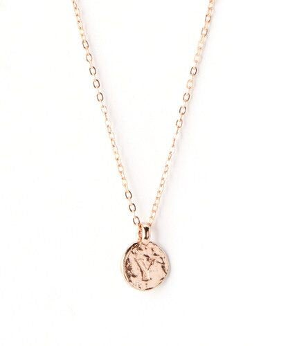 Dainty Hammered Initial Pebble Necklace