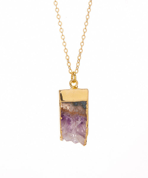 Brazilian Amethyst 14K Electroplated Gilded Raw Point Down Organic Necklace