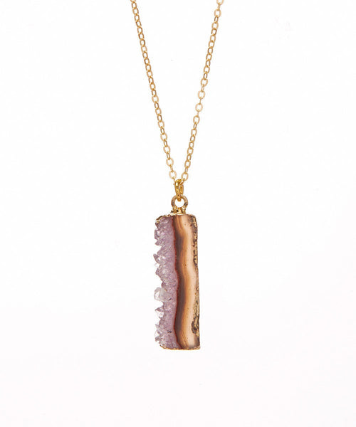 Brazilian Amethyst 14K Electroplated Gilded Raw Edge Organic Necklace