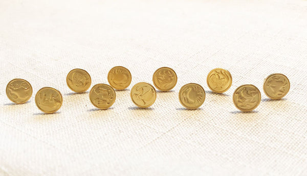 FREE SHIPPING Zodiac Mini Stud Token Earrings