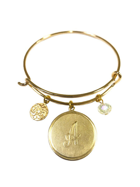 A-Z Vintage Monogram Coin & Crystal Wire Bangle