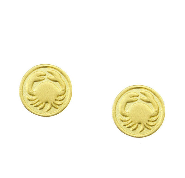 Cancer Zodiac Mini Token Stud Earrings