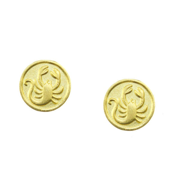 FREE SHIPPING Scorpio Zodiac Mini Token Stud Earrings