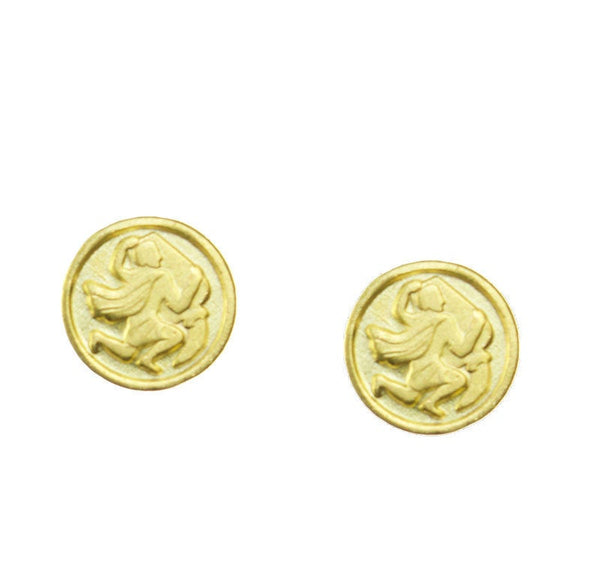 Aquarius Zodiac Mini Token Stud Earrings