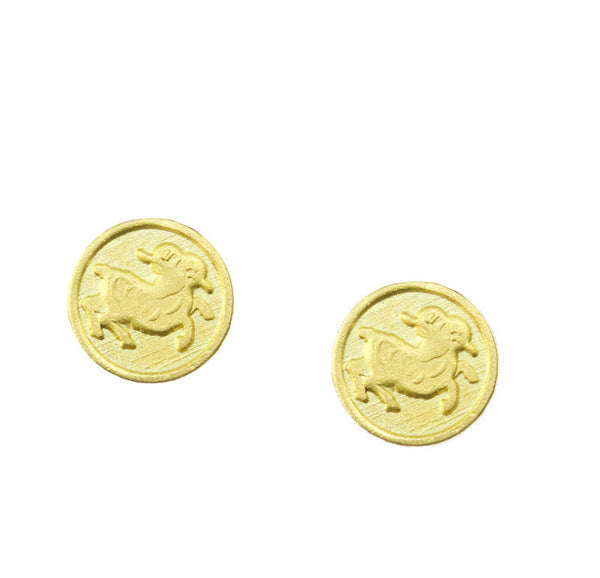 Aries Zodiac Mini Token Stud Earrings