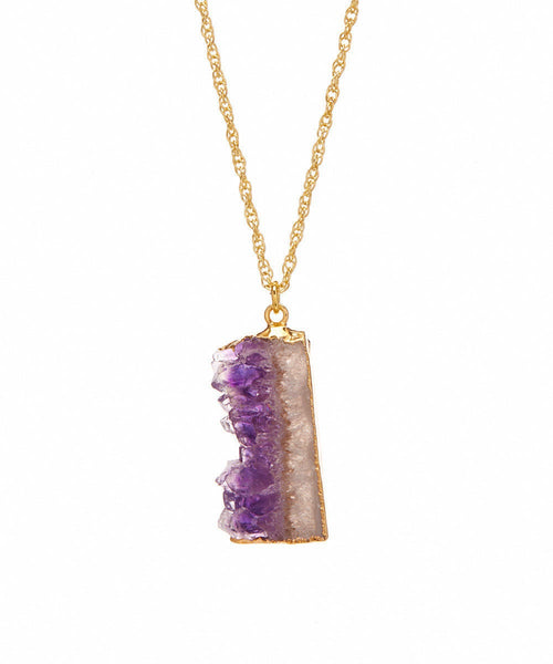 Large Brazilian Amethyst 14K Electroplated Gilded Raw Edge Organic Necklace